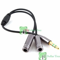Free shipping: 3.5MM Extension Earphone Headphone Audio Splitter Cable Adapter Male to 2 Female wholesale