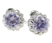 Free shipping!!!Brass Earrings,Cheap, stainless steel post, Flower, platinum color plated, with cubic zirconia, mixed colors