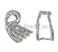 Free shipping!!!Brass Pinch Bail,Trendy, Swan, platinum color plated, with rhinestone, nickel, lead & cadmium free