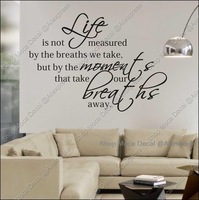Life Breath Word Quote Home Decoration Removable Wall Decal Vinyl Stickers DIY Required
