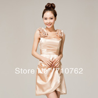 The bride wedding dress formal dress bridesmaid short design evening dress double-shoulder elegant princess dress skirt