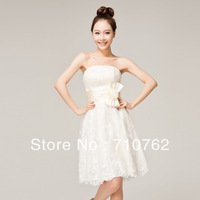 Bridesmaid dress tube top short slim design champagne color wedding dress evening dress lace
