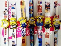 Free shipping!100pcs/lot! Fashion Despicable Me 2 Slap Watch Minion Cartoon Wrist watch Children Silicone Rubber Watches G3009