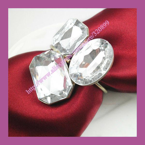 wholesale 100pcs lot wedding embellishment crystal napkin rings