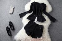 2013 autumn fashion ol fashion creased organza top black shorts set