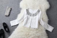 2013 coat beading rhinestone paillette evidenced slim white black lace short jacket small