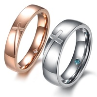 Free shipping 2013 new fashion style matching promise rings couples ring cross pattern rose and silver color