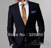 free shipping /top Italian imported fabrics Male suit customize suit blue wide stripe wedding groom wear dress/man tuxedos