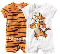 2013 Hot selling retail boy short sleeve romper baby cotton bodysuits Ronny Turiaf design jumpsuits cartoon tiger bodysuits