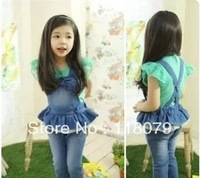 New arrival 2013  female child autumn denim big butterfly bib pants
