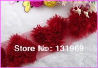 NEW ARRIVAL! 10 pcs/lot Shabby Frayed Chiffon 3 inch RED Heart Love Rose Flowers DIY for Headband Hairbow  trim Craft