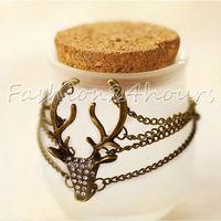 New Retro Copper Rhinestones Deer Head Long Antlers Modeling Exaggerated Bracelet Jewelry