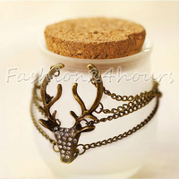 New Retro Copper Rhinestones Deer Head Long Antlers Modeling Exaggerated Bracelet Jewelry