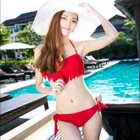 Fringed bikinis for women Tassel small push up triangle bikini hot spring swimsuit swimwear female swimwear