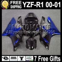 7 Free gifts  For YAMAYA YZF-R1 00-01 YZF R1 YZF 1000 blue flames black 00 01 C#99812 YZFR1 YZF1000 2000 2001 YZF-1000 Fairing