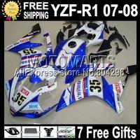 7gifts For YAMAYA YZFR1 YZF R1 NEW Blue white 07-08 YZF-R1 YZF1000 C#1021056 YZF 1000 07 blue FIMER 08 2007 2008  Body Fairing