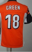 Youth 18 AJ Green  orange black white  American football Jersey,Cheap  kids Sports Jersey,Embroidery logos,Mix order