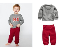 Free Shipping!!3sets/lot Branded baby clothing sets Boys soft tracksuits Gray sweatshirt+Red pants 2pcs set