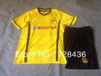 On Sale!!13 14 Borussia Dortmund Yellow Home Cheap Soccer Uniforms Jersey+Shorts Trianing Shirt Football Clothing Free shipping