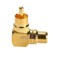 NI5L Right Angle RCA Adaptor Male to Female Connector Joint 90 Degrees