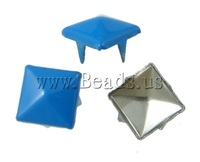 Free shipping!!!Iron Claw Rivet,High quality, Square, painting, 4 claw, light blue, nickel, lead & cadmium free, 9mm