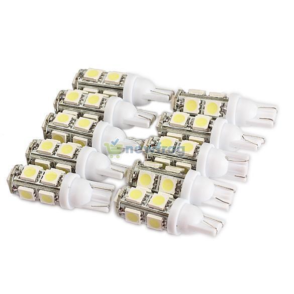 10PCS 194 168 W5W T10 9SMD-5050 LED White Light Car Tail Lamp Bulb Bright S7NF(China (Mainland))