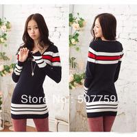 Women Navy Stripe V Neck Long Sleeves Stretchy Slim Knit Dress Sweater mini Tunic Casual dress G0031