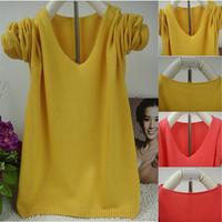 2014 Spring/autumn women's all-match V-neck long-sleeve sweater pullover short design basic shirt sweater