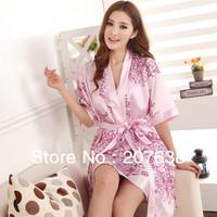 Best Selling!women robes set faux silk nightgown twinset homewear free shipping