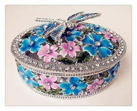 Exquisite metal diamond fashion classical small flower dragonfly alloy jewelry box jewelry box alloy jewelry box