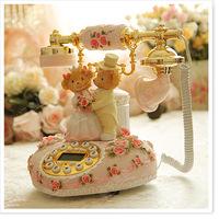 Fashion Home Decoration Telephone rustic vintage telephone phone heart resin Classic antique retro telephone