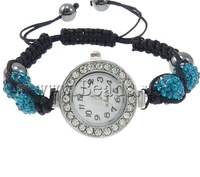 Free shipping!!!Shamballa Watch,Wholesale Jewelry, Zinc Alloy, with Clay & Wax Cord & Glass, platinum color plated