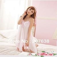 Best Selling!women lace sleepwear top quality sleeveless silk pajamas homewear free shipping