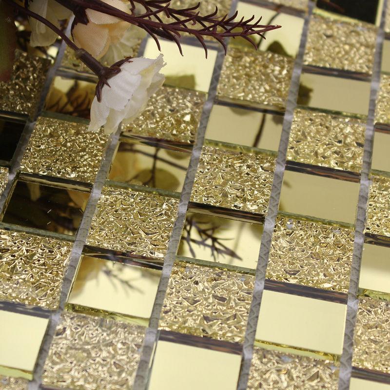 Mirrored mosaic tile backsplash