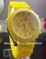 10pcs/lot Hot Geneva Popular Watch Silicone Quartz wristwatch Men/Women/Girl Unisex geneva Jelly Wrist Watch Free shipping