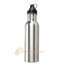 R1B1 750ml 0.75L Stainless Steel Travel Sport Water Drink Bottle Snap Hook(China (Mainland))