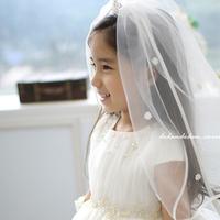 Free shipping! Quality wedding white veil flower girl veil performance princess Bridal Veils child hair accessory child veil
