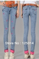 2014 new autumn and winter leisure female lips were thin leg jeans