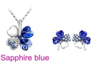 Free Shipping Wholesale Austrian Crystal Clover 4 Leaf 18K White Gold Plated alloy Necklace Earrings 8 colors Jewelry Set