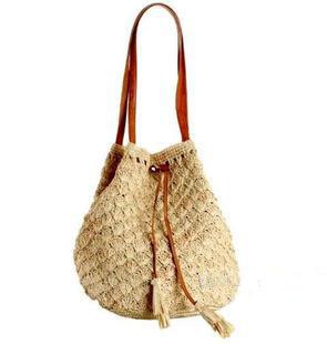 2014 Beach bag straw bag one shoulder drawstring cord crocheted fan flower tassel bags