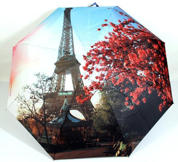 Free Shipping Paris Oil Painting Umbrella Big Folding Exquisite Classic Umbrella Anti-uv Sun/Rain Durable Automatic Umbrella(China (Mainland))