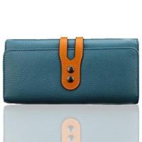 Luxury Continental retro interlocking hasp 2 fold genuine leather women lady wallet purse free shipping