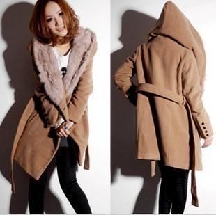 2014 Autumn and Winter Female Thick Camel Rabbit Fur Woolen Long Coats Plus Size Cashmere Jackets GM9805