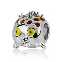 Sterling Silver Charm Blowfish with Enamel Splashes DIY making Wholesale Fits All Brands European Charm Bracelets