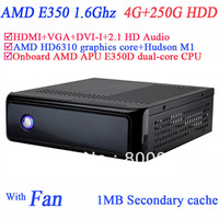 tiny pc with windows 7 or linux 4G RAM 250G HDD HDMI DVI-I VGA dual display AMD APU E350D 1.6Ghz HD 6310 graphic secc chassis