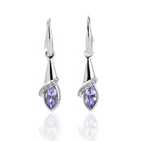 18K Platinum Plated Purple Crystal Earrings For Women Nickel Free K Golden Jewelry Plating Platinum Austrian Crystal SWA Element