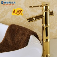 Fashion antique hot and cold taps copper counter basin gold bathroom