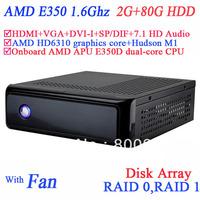 ubuntu mini pc with USB 3.0 SP/DIF DVI-I HDMI VGA dual display AMD APU E350D dual-core CPU 2G RAM 80G HDD windows or linux