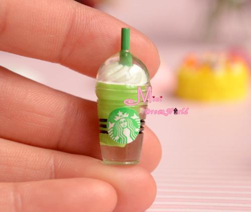 Gift For Girls 1:12 Dollhouse Miniature FOOD ICREAM DRINK W STRAW 2PCS Furniture(China (Mainland))