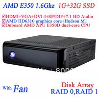 mini pc windows 7 with SP/DIF Digital 1080P USB 3.0 DVI-I HDMI VGA dual display AMD APU E350D dual-core CPU 1G RAM 32G SSD